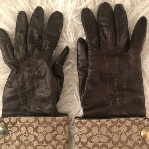Brown Coach Gloves leather/ cashmere lined